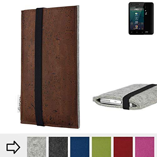 flat.design Handy Hülle Sintra für Allview P42 maßgefertigte Handytasche Filz Tasche Schutz Case braun Kork