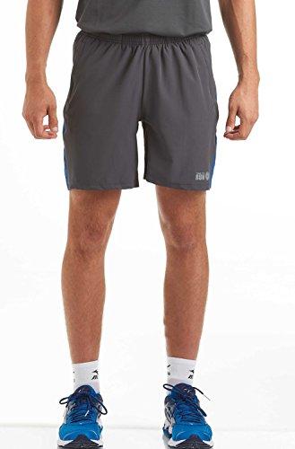 Time To Run Shorts de Hombre para Correr/el Gimnasio/Entrenamiento/con Bolsillos Traseros y Laterales Medio Gris Carbón/Azul Profundo