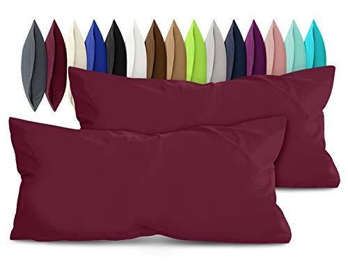 npluseins 2er Pack Baumwoll Kissenbezug - Jersey - viele Farben 1331.1812, ca. 40 x 80 cm, Bordeaux -