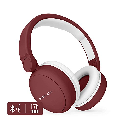 Energy Sistem Headphones 2 - Auriculares con Bluetooth (Over-Ear, Audio-In, Long Battery Life, 180 Plegable) Rojo