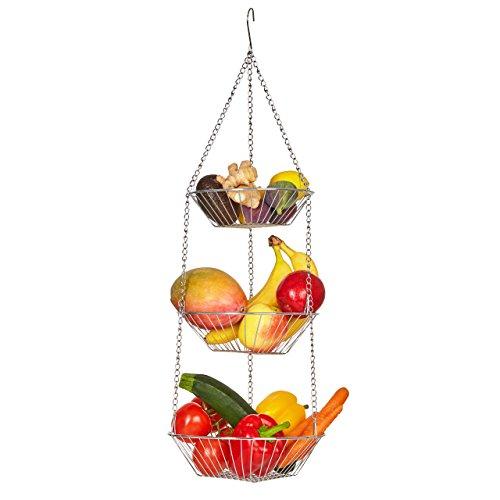 Lumaland Corbeille à Fruits Suspendue en 3 étages, Rangement pour Fruits, légumes, ustensiles de Cuisine et pour Fleurs