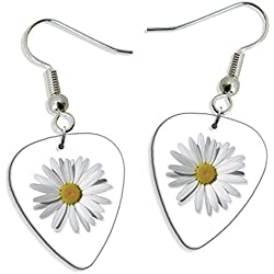 Daisy Flower 2 X Guitarra Pick Earrings Pendientes (GD)