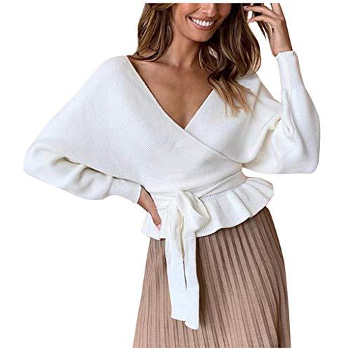 ZEELIY Damen Pullover kurz V-Ausschnitt Sexy Strick Oberteil mit Volant Spitze Taille Pulli Herbst Winter Casual Warm Langarmpullover