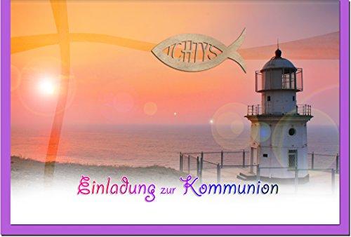 """metALUm Einladungskarten zur Kommunion (10 er Set) """"Leuchtturm"""""""