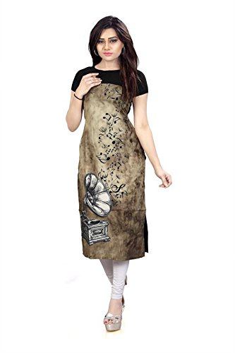 New Ethnic 4 You Woman's Chikoo and Black Straight Cut Digital Printed...
