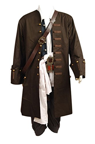 Pirates Of The Caribbean Jack Sparrow Jacke Weste Gürtel Shirt Hose Cosplay Kostüm (Pirate Kostüme Halloween)