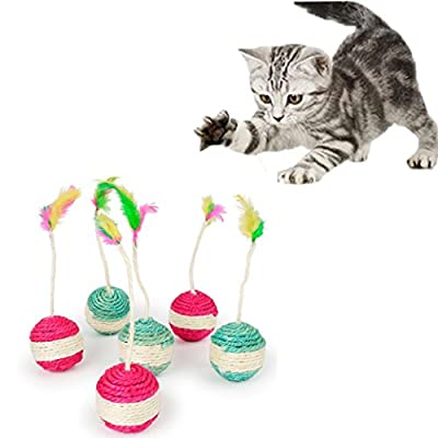Pet Cat Kitten Toy Rolling Sisal Scratching Funny Kitten Play Dolls