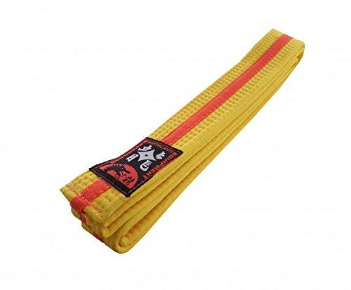 Karategürtel gelb-orange-gelb Mittelstreifen Judogürtel Taekwondogürtel