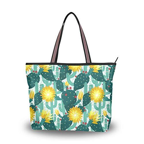 Emoya Fashion Damen Handtasche Tropische Kakteen Blüten Äste Beeren Prickles Top Handle Casual Tote Shoulder Work Casual Bag M, Mehrfarbig - multi - Größe: Medium -