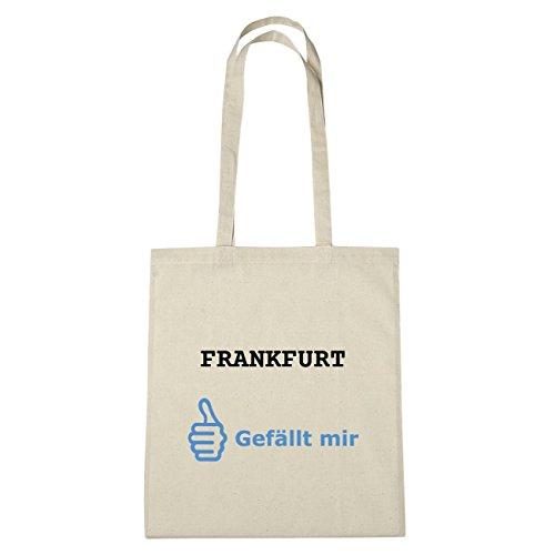 JOllify Frankfurt Borsa di cotone B296 schwarz: New York, London, Paris, Tokyo natur: Gefällt mir