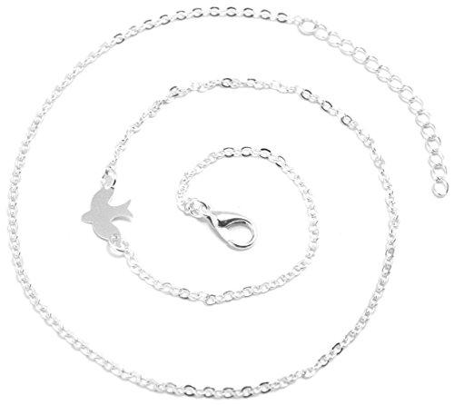 2LIVEfor Kurze Kette mit Anhänger Friedenstaube Silber Halskette Taube Choker Kette Frieden Peace Kette Vogel Flügel