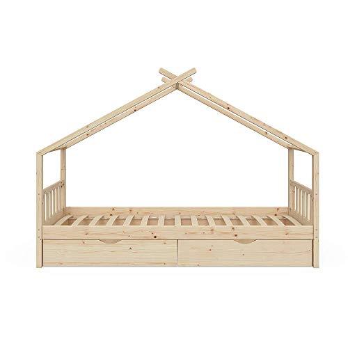 Optional Kinderbett-schublade (VitaliSpa Kinderbett Hausbett Design 90x200cm INKL SCHUBLADEN Kinder Bett Holz Haus Schlafen Hausbett Spielbett Inkl. Lattenrost)