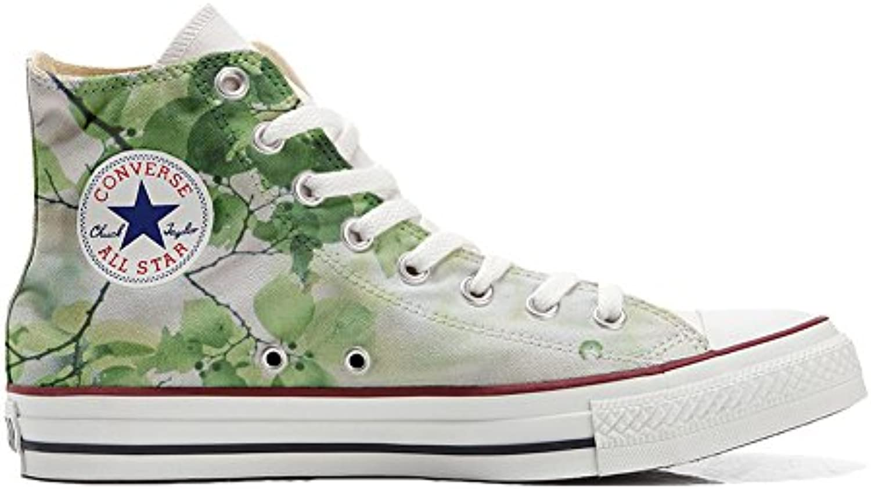 mys Converse All Star Hi Customized Personalisiert Schuhe Unisex (Gedruckte Schuhe) Grüne Blume