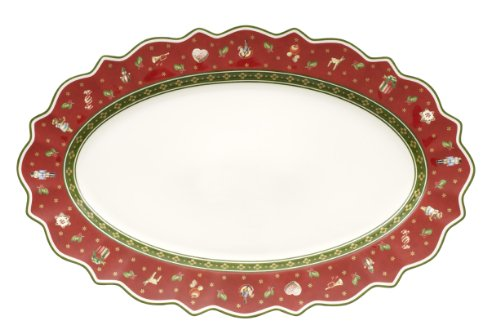 Villeroy & Boch 14-8585-2910 Plat Ovale Toy's delight Arts de la Table de Noël Porcelaine Rouge 50,5 x 32 x 5 cm