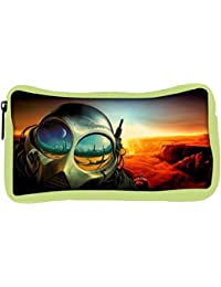 Snoogg Eco Friendly Canvas Astronauts Mask Designer Student Pen Pencil Case Coin Purse Pouch Cosmetic Makeup Bag