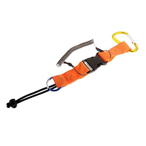 Homyl Multifunktionell Lanyard mit Schnellverschluss, als Unterwasser Tauchen Kamera Handschlaufe, Spiralkabel Spring Coil Seil, Angelsport Werkzeug Sicherungsleine, Schlüsselband, Schlüsselanhänger - Orange