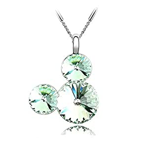 Silver Crystal Diamond Accent Pendant Chain Necklace Made with Swarovski Crystal, with a Gift Box, Olive, Model: X19156