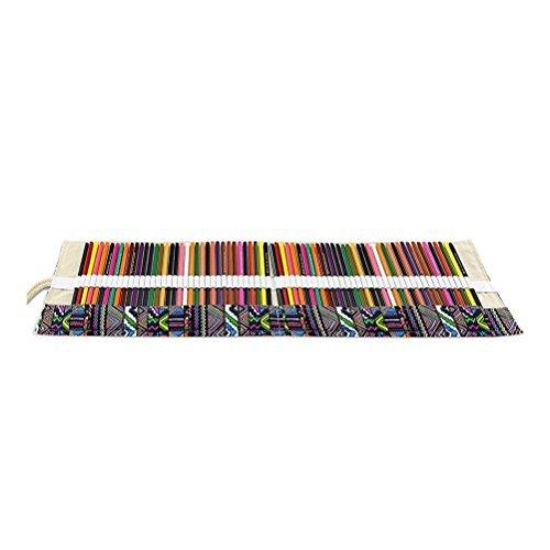 ULTNICE Buntstifte 72 Slots Leinwand Roll einpacken Stifte Halter Tasche für Stifte Bleistifte