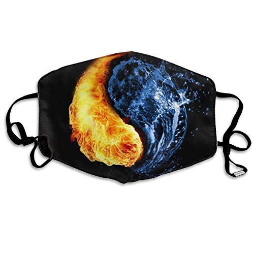 Xdevrbk Anti Dust Pollution Mask Fire Water Ying Yang Pattern Reusable Washable Earloop Face Mouth Mask Men Women