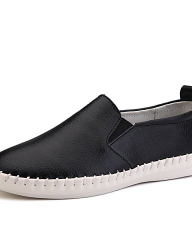 ZQ Scarpe Donna - Mocassini - Ufficio e lavoro / Formale / Casual - Comoda / Punta arrotondata - Piatto - Di pelle - Nero / Bianco , white-us8.5 / eu39 / uk6.5 / cn40 , white-us8.5 / eu39 / uk6.5 / cn white-us6.5-7 / eu37 / uk4.5-5 / cn37