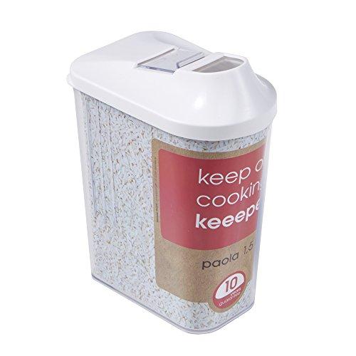 keeeper Contenitore per Alimenti Sfusi Coperchio Dosatore Regolabile Plastica priva di BPA 15 L 115 x 7 x 21 Paola Bianco