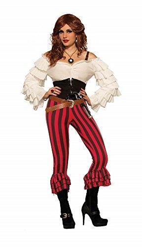 Hose für Damen Piraten-Kostüm Schwarz/Rot Gr. S-L Piratin ()