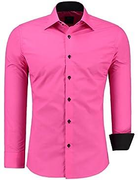 Jeel Camisa de manga larga para hombre, estilo business, para traje y tiempo libre, ajustada rosa XXXXL