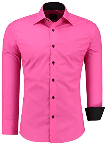 Jeel Langarm Herren Hemd Basic Business Anzug Freizeit Slim Fit Gr S M L XL NEU Pink 6XL