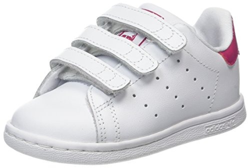 adidas Stan Smith CF I, Chaussures Premiers Pas Mixte Bébé Blanc (Footwear White/Footwear White/Bold Pink)