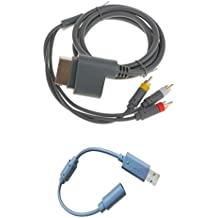 23cm Breakaway USB Cable + HD TV Component Composite Audio Video AV Cable Cord For Microsoft Xbox 360