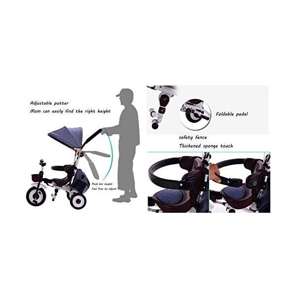BGHKFF 4 In 1 Childrens Folding Tricycle 5 Months To 5 Years Silent Blockable Rear Wheels Childrens Tricycles Folding Sun Canopy Push Handle Child Trike Maximum Weight 60 Kg,Blue BGHKFF ★ 4-in-1 multi-function: convertible into stroller and tricycle. Remove the guardrail and awning as a tricycle. ★Material: Thick carbon steel, suitable for children from 5 months to 5 years old, maximum weight: 60 kg ★ Tricycle foldable, space saving, easy to carry, great gift: perfect gift for children's birthday or Christmas. Easy to assemble When you don't use it, you can fold it and store it in any corner. 9