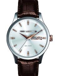 Ted Lapidus - 5124204 - Montre Homme - Quartz Analogique - Cadran Blanc - Bracelet Cuir Marron
