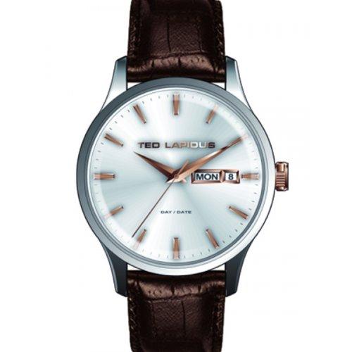 Ted Lapidus 5124204 - Reloj analógico de cuarzo para hombre con correa de piel, color marrón