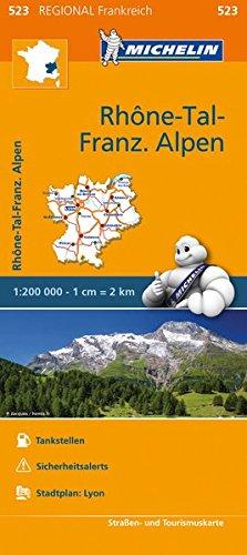 Preisvergleich Produktbild Michelin Rhonetal - Französiche Alpen: Straßen- und Tourismuskarte 1:200.000 (MICHELIN Regionalkarten,  Band 523)