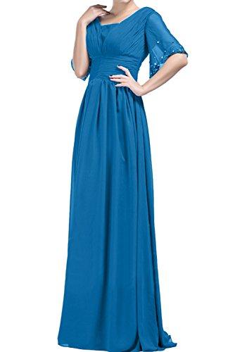 Ivydressing Damen A-Linie Lang Abendkleider Chiffon Mit Aermeln Promkleid Ballkleider Blau