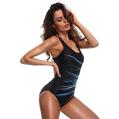 Costume da Bagno, MEIbax Donne un pezzo costume da bagno spiaggia semplice costumi da bagno balneazione monokini push up Bikini imbottito Blu