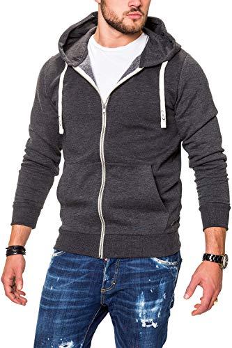 JACK & JONES Herren Sweatjacke Hoodie Kapuzenjacke Sweatshirt Kapuzenpullover (Medium, Dark Grey Melange) - Mit Reißverschluss Vorne Pullover