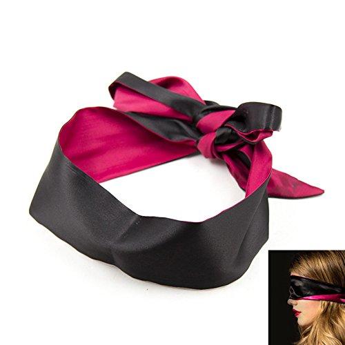 Bandeau de Soie Satin pour les Yeux Foulard Liens Ruban Bandage Bondage Rouge et Noir 150*7.5cm Sexy Erotique SM