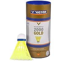 VICTOR Badminton Federball Nylon 2000, erhätlich in den Geschwindigkeiten schnell, medium und langsam, mit gelbem und weißem Korb