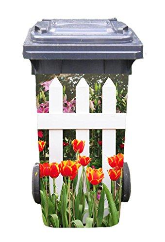 *Mülltonnen-Aufkleber Motiv Garten 1 31 cm x 70 cm für 120 l Tonne*