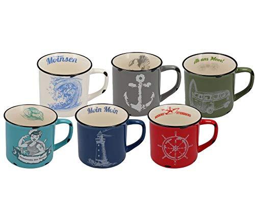 Tony Brown Maritime Porzellan Kaffeebecher mit Sprüchen | Motive von Nordsee und Ostsee in Emaille-Optik (500 ml 6er Set, Mehrfarbig)