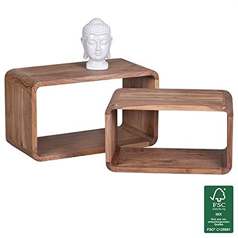 Wohnling wl1.538Côté table en bois d'acacia massif de tables gigognes Lot de 2étagères cubes Cube 70x 36x 40cm naturel