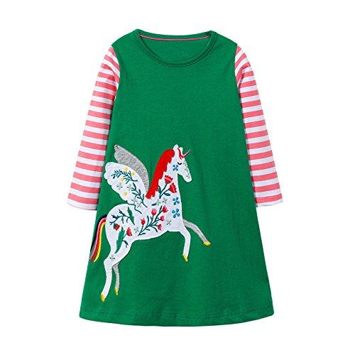 (OHBABYKA Little Girls Cute Casual Baumwolle Tiere Gedruckt Streifen Langarm Playwear Kleid (4T, A White Horse))