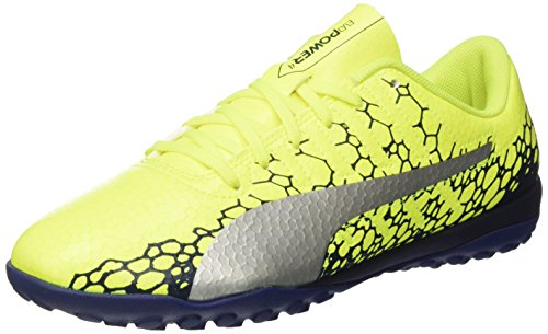Puma Men's Evopower Vigor 4 Graphic Tt Safety Yellow-Silver-Blue Depths Football Boots - 7 UK/India (40.5 EU)