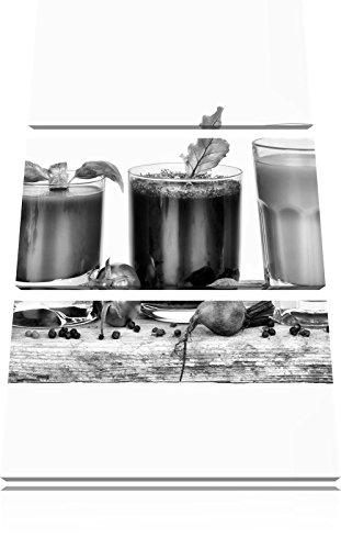 Monocrome, Gesunde Bio Fruchtsäfte 3-Teiler Leinwandbild 120x80 Bild auf Leinwand, XXL riesige Bilder fertig gerahmt mit Keilrahmen, Kunstdruck auf Wandbild mit Rahmen, gänstiger als Gemälde oder Ölbild, kein Poster oder Plakat (Sekt Mit Fruchtsaft)
