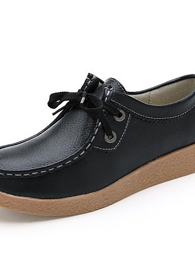 ZQ Scarpe Donna - Stringate - Ufficio e lavoro / Casual / Serata e festa - Comoda / Punta arrotondata - Piatto - Di pelle -Nero / Giallo / , orange-us8.5 / eu39 / uk6.5 / cn40 , orange-us8.5 / eu39 /  black-us5.5 / eu36 / uk3.5 / cn35