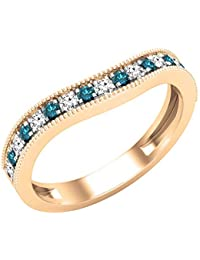 Dazzlingrock Collection - Banda de boda apilable para mujer, diseño de piedras preciosas redondas y diamantes blancos, oro rosa de 10 quilates