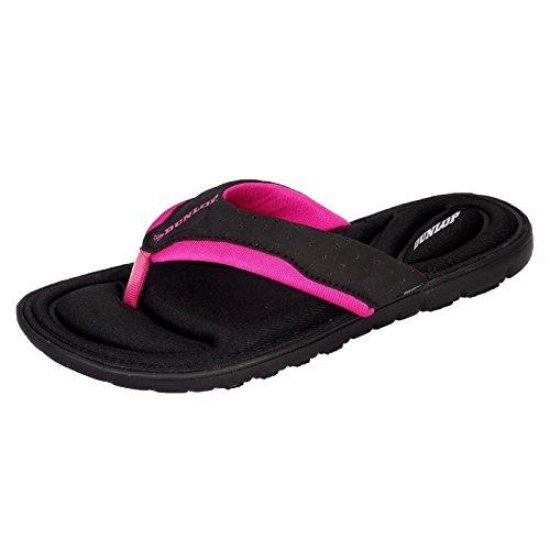 Dunlop Damen-Flip-Flops aus Gedächtnisschaum, Badeschuhe für den Strand- Gr. 41 EU / 8 UK / 11 US, Black - Fuchsia
