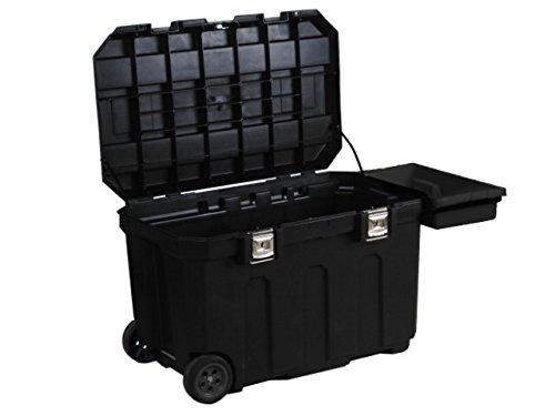 Stanley Werkzeugbox (96,2 x 59,1 x 57,8 cm, robust und mobil, 190l Stauraum, belastbar, Koffer mit Metallverschlüssen, Box mit herausziehbarem Handgriff) 1-93-278 (Schwarz-mobile-tool-box)