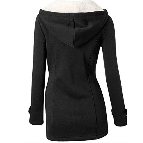 GHYUGR Abrigos con Horn Botones Mujer Invierno Elegantes Slim Chaqueta con Capucha Lana Capa Jacket Sudadera Pullover Outwear Parka,Negro,XL